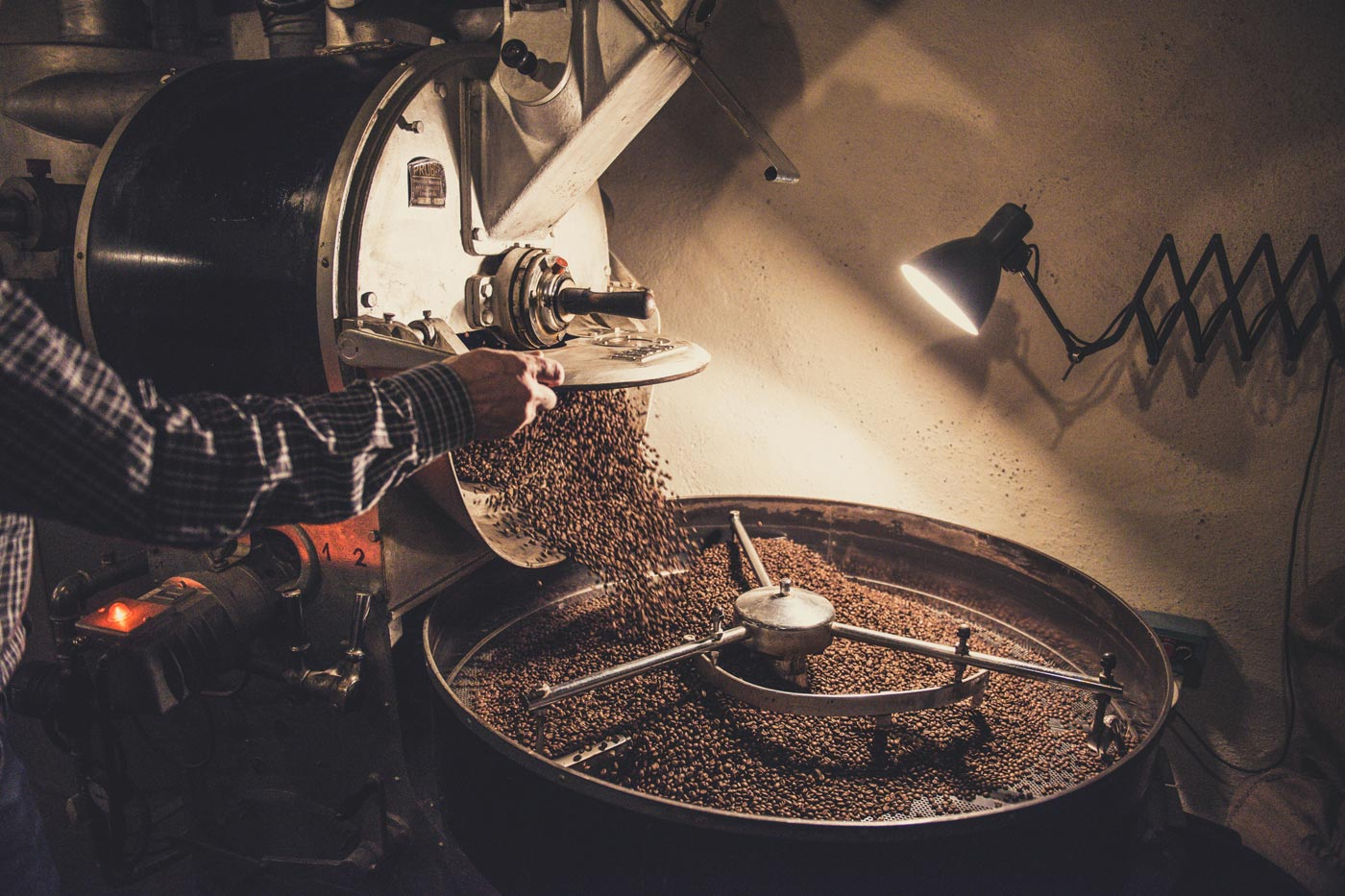 coffee roaster pouring beans into drum